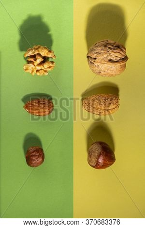 Some Nuts, Almond And Hazelnut, Both Raw From The Tree And Others Without Shell On A Green And Yello