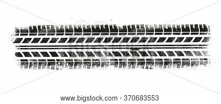 Vector Illustration Tire Tracks With Grunge Effect On White Background