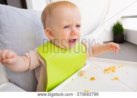 Annoyed Cute Baby Wearing Plastic Bib, Sitting In Highchair With Food Messy On Tray. First Solid Foo