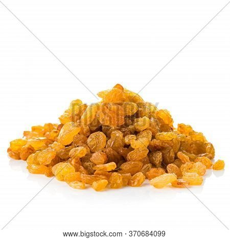 Pile Of Healthy Raisins Isolated, Dried Golden Raisins Grapes On White Background.