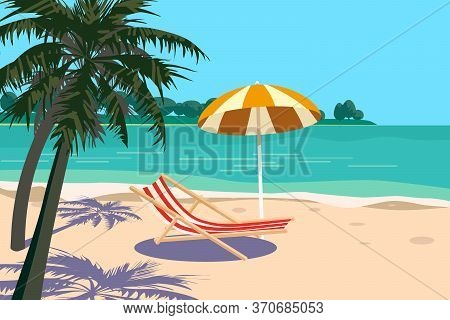 Beautiful Tropical Landscape Seascape, Lounge Chair, Umbrella, Banner Holiday Vacation. Summer Beach