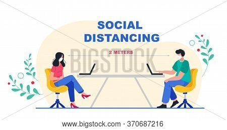 Social Distancing At Office Workplace. Keep The 2 Meter Distance. New Normal Lifestyle In Job.