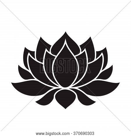 Lotus Flower Black Silhouette On Transparent Background. Vector Illustration For Tattoo, T Shirts, Y