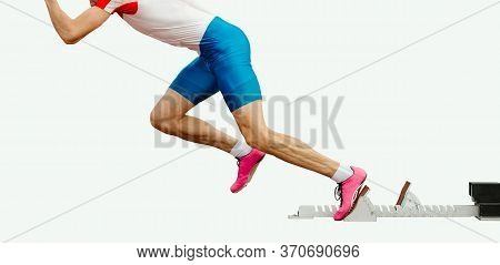 Athlete Sprinter Runner Start From Starting Blocks Isolated On White Background
