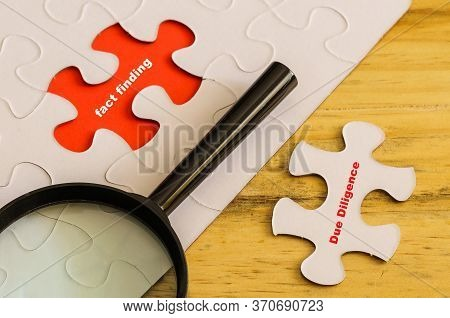 Conceptual Of Due Diligence Fact Finding. Text Due Diligence On Loose Jigsaw Piece. Fact Finding On