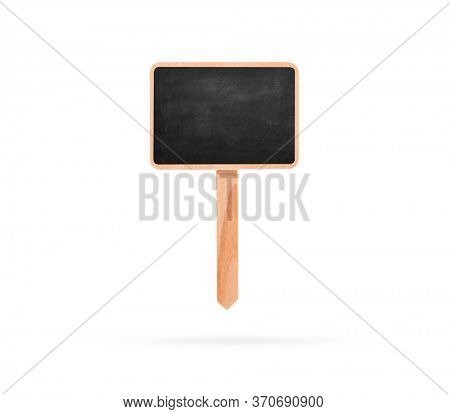 Blank Blackboard Label With Stick isolated on a white background.. Chalkboard on pole with shadow below