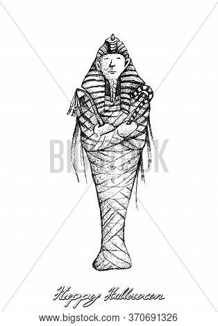 Illustration Hand Drawn Sketch Of Pharaoh Mummy In Ancient Egyptian Religion. Isolated On White Back