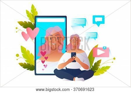 Vector Illustration With Young Blogger Girl Sitting In Lotus Position With Smartphone During Live St