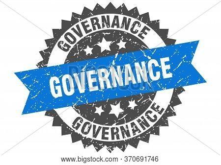 Governance Grunge Stamp With Blue Band. Governance