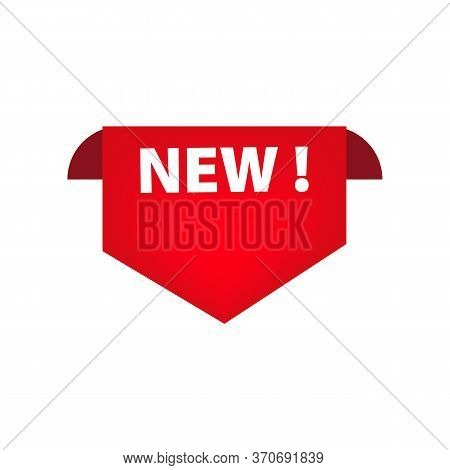 Red Angled New Tag. Novelty, Shopping, Opening Tag. Sale Banner Concept. Illustration Can Be Used Fo