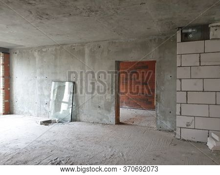 Huge Space Of New Luxury Modern Apartment With Hole In Wall In Neighboring Apartment In Newly Built