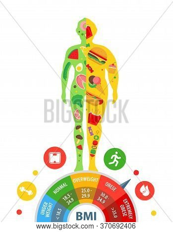 Body Mass Index. Body With Different Weight. The Effect Of Nutrition On Human Weight. Weight Loss.