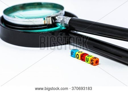 Conceptual Image Of High Focus Required In Business On White Background.