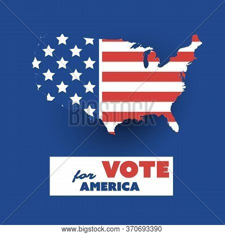 Usa Voting Design Concept With Us Flag Pattened Map