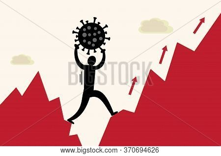 A Man Holding A Covid-19 Virus Above His Head While Climbing A Pointy Red Mountain. A General Metaph