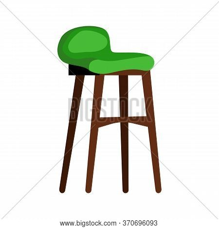 Modern Green Padded Stool Flat Icon. Living Room, Lounge Chair, Restaurant. Chairs Concept. Illustra