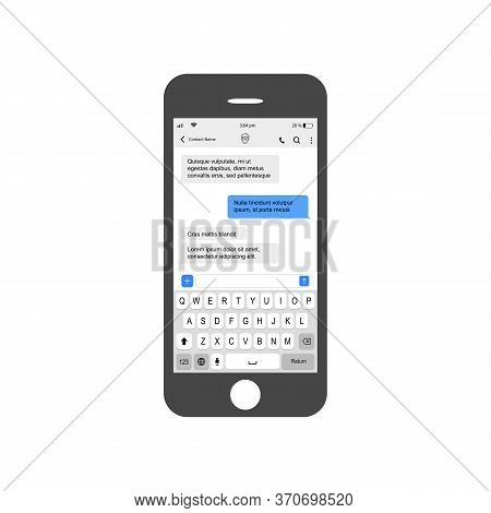 Smartphone With Live Chatting Pattern Sms Bubblest. Phone Sms Chat Composer. Put Your Own Text In Me