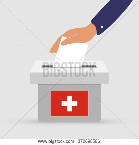Election Concept In Switzerland. Flat Hand Putting Vote Bulletin Into Ballot Box With Swiss Flag Ico