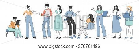 Men And Women In Casual Clothes Discussing And Brainstorming During Business Meeting Or Coffee Break