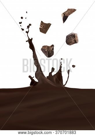 Yummy Melted Chocolate Splashing With Falling Chunks On White Background