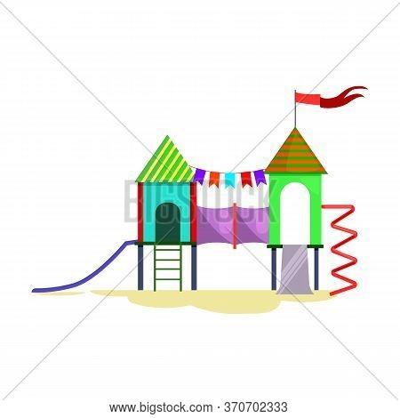 Kids Playground With Ladder, Chutes And Spiral . Kindergarten, Fair, Children Activity. Childhood Co