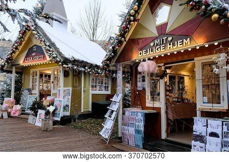 Copenhagen / Denmark - November 2019: Souvenir Stalls For Tourists At Tivoli Gardens. Christmas Deco