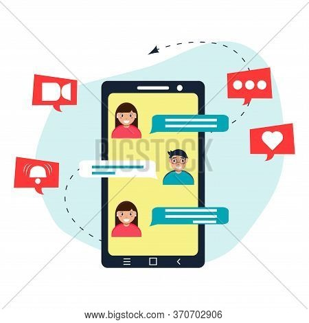 Message. Screen Smartphone. Messenger, Telephone Correspondence, Social Networks. Man And Woman Mess