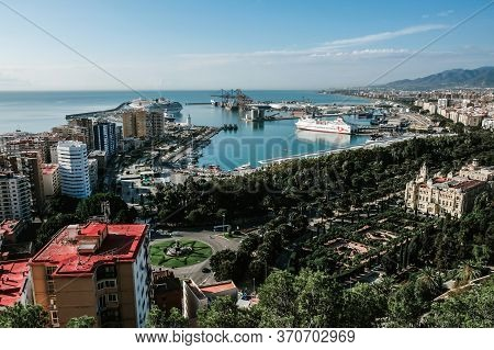 Malaga /spain - October 2019: Closeup Aerial View. Famous Viewpoint And Touristic Landmark. Overlook