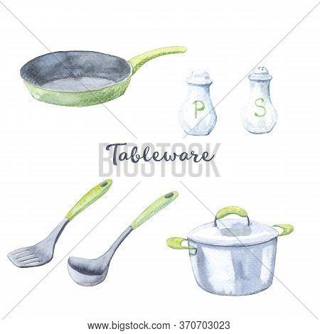 Watercolor Set Of Drawings - Kitchen Utensils, Cookware