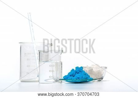Close Up Inorganic Chemical On White Laboratory Table. Copper(ii) Sulfate, Sea Salt, Alcohol. Chemic