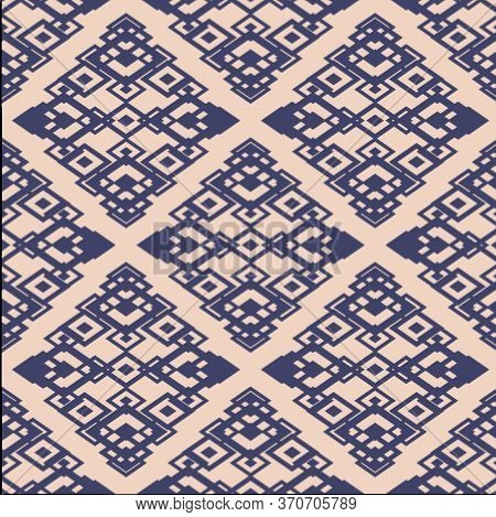 Ornamental Seamless Pattern. Vector Geometric Texture With Diamond Shapes, Rhombuses. Abstract Graph