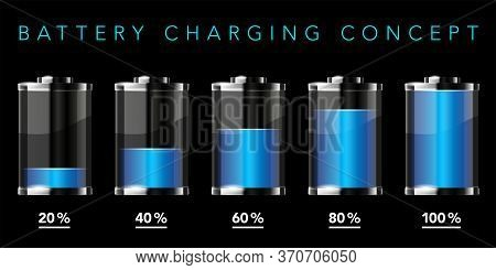Battery Charging Concept - Battery Icons With Different Charge Levels On Black Background - Vector I