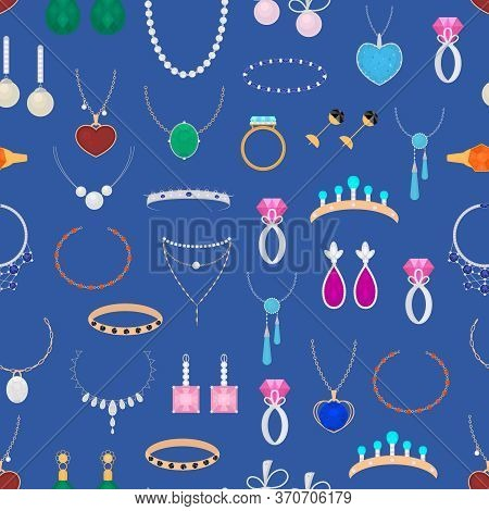 Cartoon Color Different Type Jewelry Seamless Pattern Background With Precious Gem Include Of Armlet