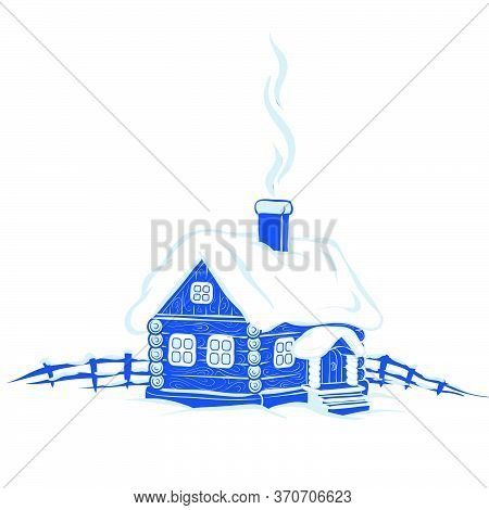 Stylized Picture In Blue, Hut In The Snow, Smoke Comes From The Chimney, Snow Lies On The Roof, Smal