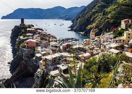Vernazza, Italy - July 8, 2017: View Of Vernazza Village And Doria Castle On A Sunny Day