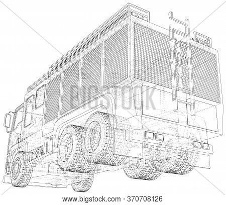 Vector Wire-frame Isolated Fire Truck On Background. Vector Rendering Of 3d