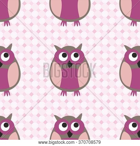 Tile Vector Pattern With Owls On Pink Plaid Seamless Background