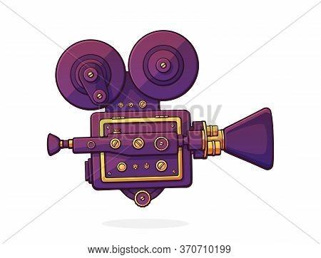 Retro Cinema Projector. Vintage Film Camera. Old Fashioned Movie Camera. Symbol Of The Film Industry
