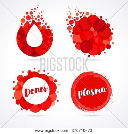 Abstract Red Drop Logo Set Design For World Blood Donor Day, June 14. Vector Illustration Of Donate