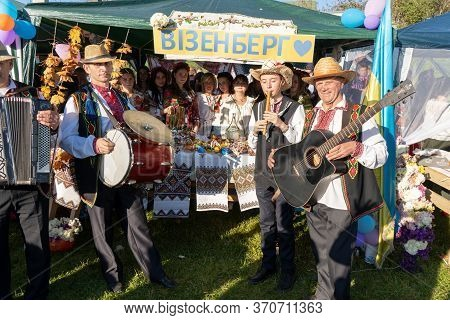 Rural Musicians, 13.10.2019.ukraine Mervichi, Celebrate In The Village Crowd Of People With Musician