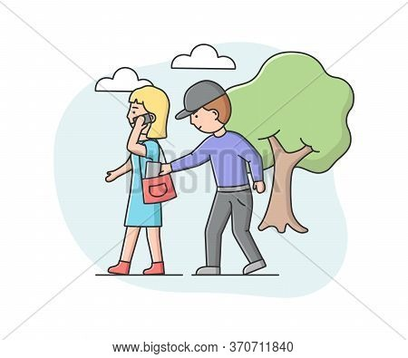 Concept Of Urban Security And Robbery. Crime And Chaos On The Streets. Robber Pickpocket Is Trying T