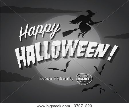 Movie ending screen - Happy Halloween - Vector EPS10