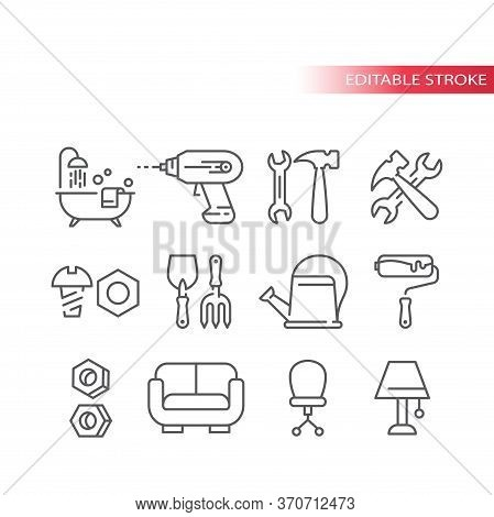 Hardware Store, Home Improvement Shop Or Diy Thin Line Icon Set. Hand Tools, Bathtub, Roller, Hammer
