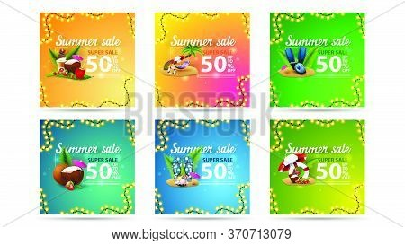 Summer Sale, Up To 50% Off, Large Set Modern Colorful Square Discount Banners With Summer Icons And