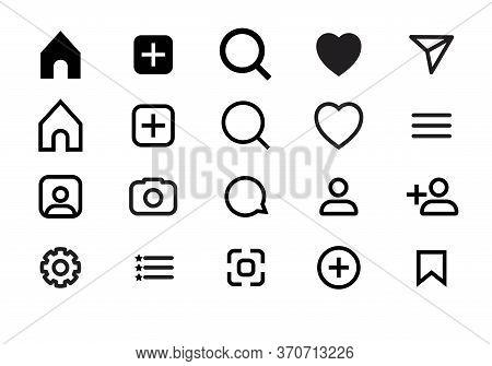 Web Icon Set, Icon Black And White Line Vector