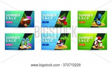 Summer Sale, Collection Blue And Green Clickable Banners With Rounded Corners, Buttons, Summer Icons
