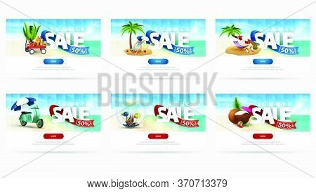 Summer Sale, Up To 50% Off, Large Collection Discount Banners For Website With Summer Icon, Seascape