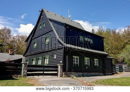 Beskydy, Czechia - June 6, 2020: The Ropicka House At The Top Of The Hill Where Tourist May Relax, D