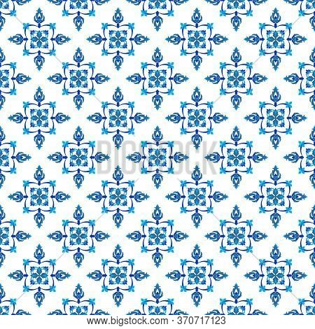 Azulejos Portuguese Traditional Ornamental Tile, Blue And White Seamless Pattern. Vector Illustratio