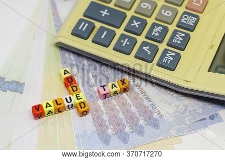 Conceptual Value-added Tax Rollout In Saudi Arabia. Value Added Tax On Coloful Alphabet Beads With R